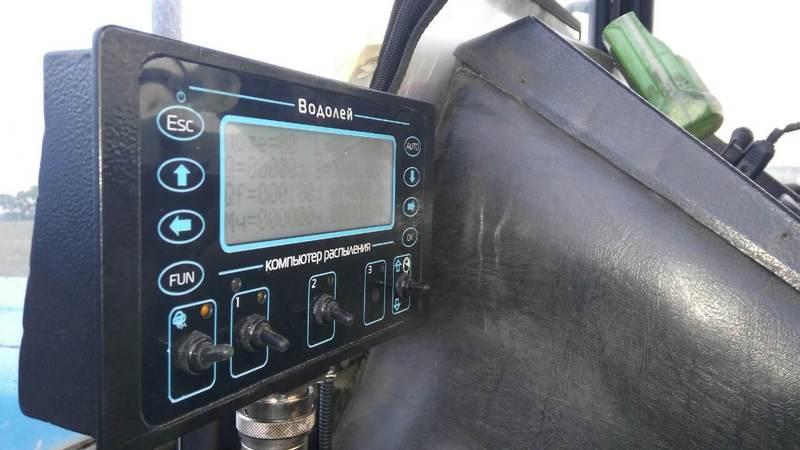 Компьютер опрыскивания Водолей с GPS модулем, установленный в рамках услуги переоборудования культиватора